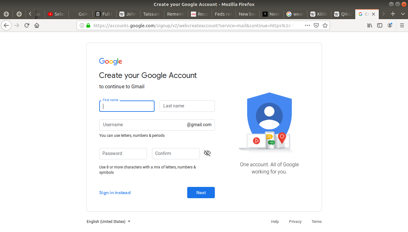 Create your Google Account open asking for information