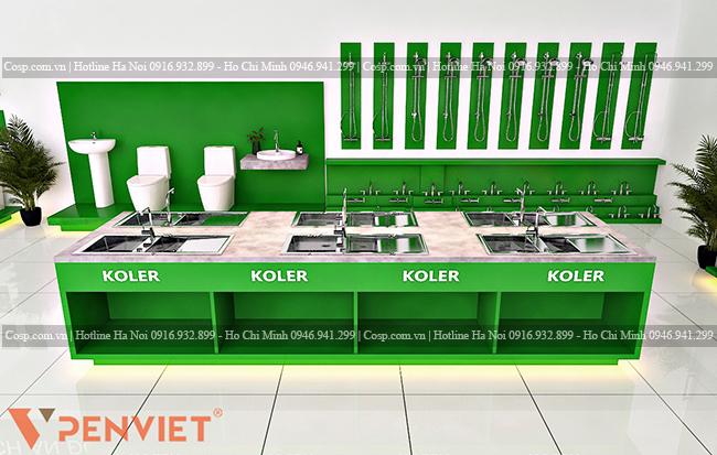Thiết kế hệ tủ trưng bày bồn rửa bát giúp khách hàng dễ quan sát sản phẩm