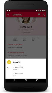 Medical ID (Free) ICE contacts- screenshot thumbnail