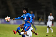 Kamohelo Mahlatsi of SuperSport United and Ebrahim Seedat of Cape Town City FC during the Absa Premiership match between SuperSport United and Cape Town City FC at Lucas Moripe Stadium on January 05, 2019 in Pretoria, South Africa.