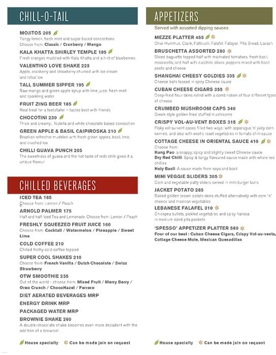 Spesso Gourmet Kitchen menu 2