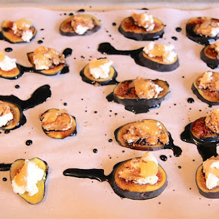 Warm Figs with Goat Cheese and Balsamic Glaze.