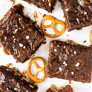 Salted Caramel Pretzel Brownies with Nutella