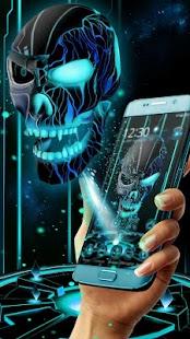 Neon Tech Evil Skull 3D Theme - náhled