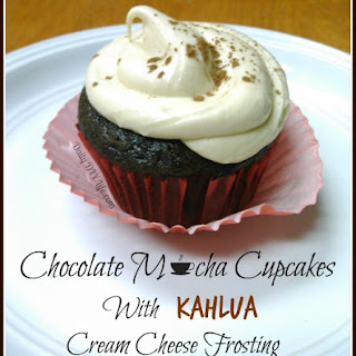 Chocolate Mocha Cupcakes with Kahlua Cream Cheese Frosting