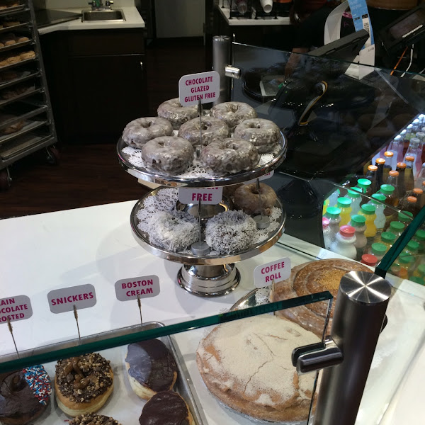Gluten Free display.  Always have the chocolate and old fashioned glazed and sometimes have a third speciality flavor.