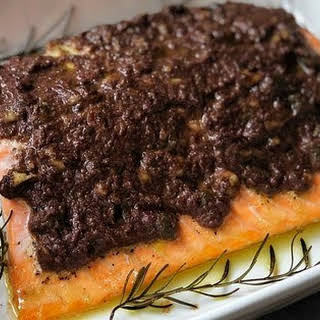 Baked Salmon with Black Olives and Capers Tapenade.