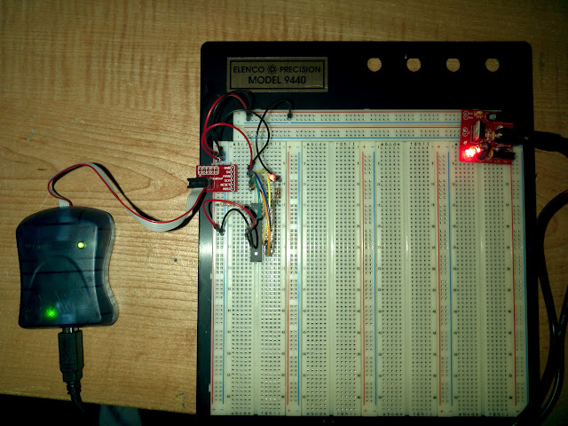 AVR chip, programmer, breadboard and power supply