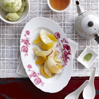 Fruit Salad with Ginger and Green Tea Ice Cream