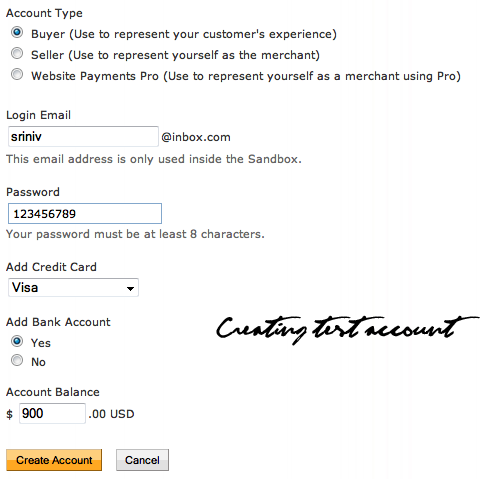 Creating Paypal Test Account