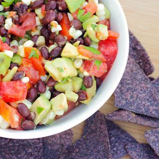 Easy Pico de Gallo with Avocado, Black Beans and Fresh Corn