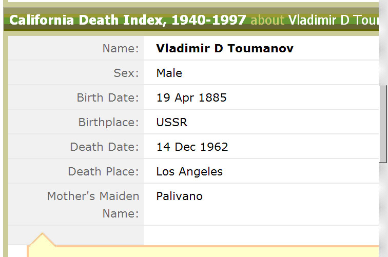 Photo: Фамилия матери Владимира Дмитриевича Хасидовича возможно PALIVANO ?! Скопировано с сайта http://ancestry.com/. Результаты поиска на указанные фамилии.