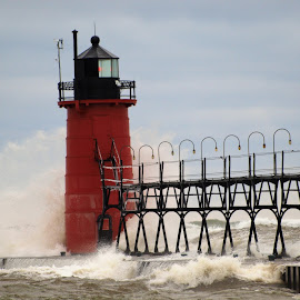 Large waves due to storm at South Haven Lighthouse by Jennifer Carnahan - Buildings & Architecture Other Exteriors ( waves, storm, large, lighthouse, south haven )