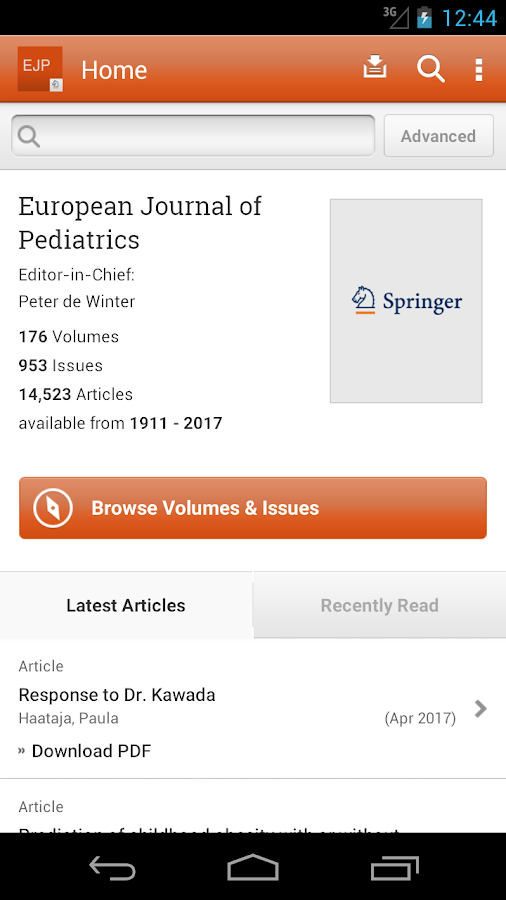European Journal of Pediatrics- screenshot