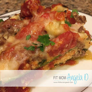 Skinny Roasted Veggie and Ground Beef Lasagna.
