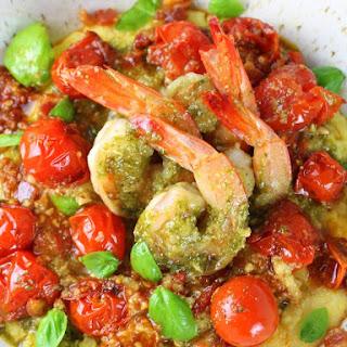 Pesto Shrimp with Parmesan Polenta.