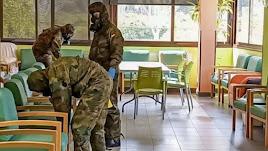 Efectivos de la UME realizan labores de desinfección en El Manantial de Terque en las primeras semanas de la pandemia.