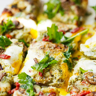 Breakfast Pizza with Basil Pesto and Sun-Dried Tomatoes Recipe