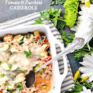Aunt Bee's Cheesy Turkey, Tomato and Zucchini Casserole.