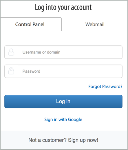 Log into your account dialog box