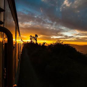 Train to Shimla by Shikhar Sharma - Landscapes Sunsets & Sunrises ( hills, sunset, twilight, train, travel, shimla )