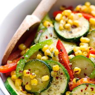 Corn and Zucchini Saute.