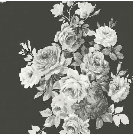 York Wallcoverings Magnolia Home Vol 2 ME1533 Tapet med blommor, Vit/Svart