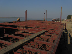 Photo: Hand built boat on the Ayeyarwaddy river bank