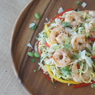 Low Carb Shrimp Coconut Ginger Zucchini Noodle Stir-Fry