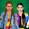 College Student Girl Dress Up icon