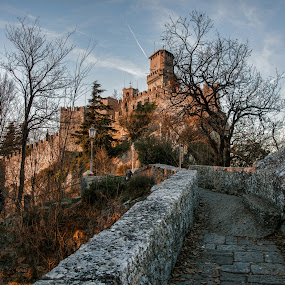 The path to middleage by Andrea Magnani - Buildings & Architecture Public & Historical ( history, middleage, castles, trees, bridge, architecture, landscape )