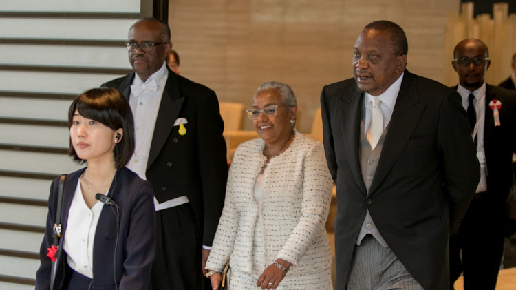 President Uhuru Kenyatta and First Lady Margaret Kenyatta during the enthronement Ceremony of His Majesty Emperor Naruhito of Japan, at the Imperial Palace in Tokyo, Japan. /PSCU
