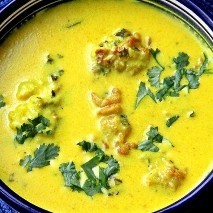 Kadhi Pakora - Indian Chickpea Soup with Sweet Potato Fritter Dumplings