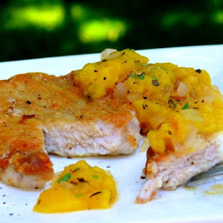 Pork Chops with Peach-Ginger Chutney