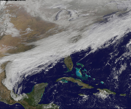 "Satellite Shows an ""Arctic Blanket"" Over the U.S. [detail]"
