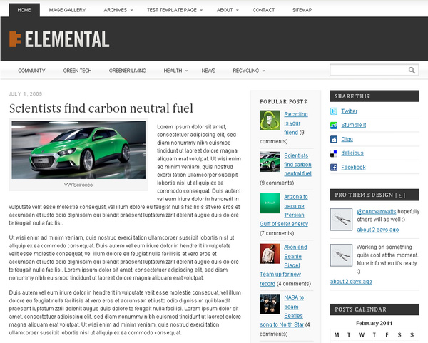 Elemental WordPress Theme Framework