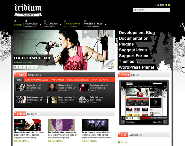 Iridium WordPress Theme for Bands