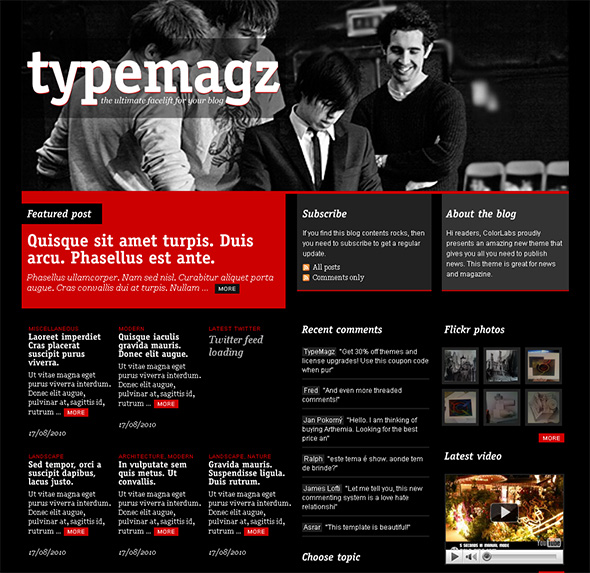 TypeMagz WordPress Theme for Bands and Musicians