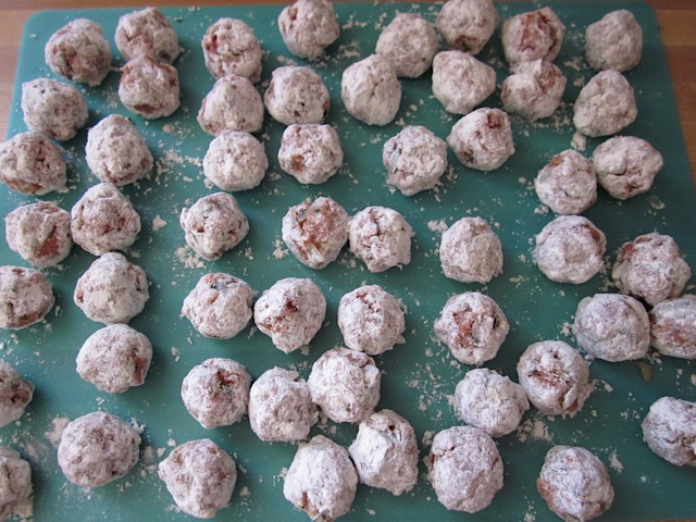 all meatballs dredged in flour