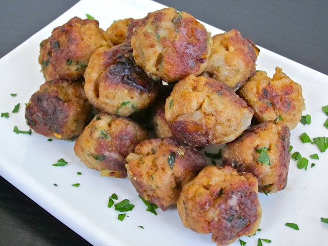 stack of turkey meatballs on white plate