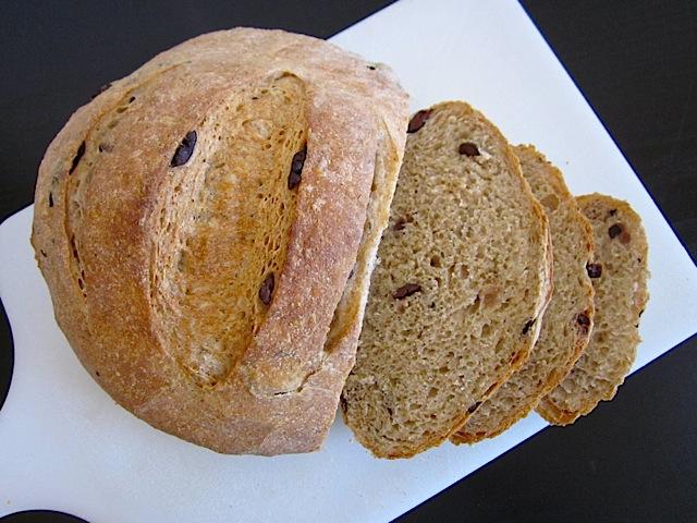 sliced olive herb bread