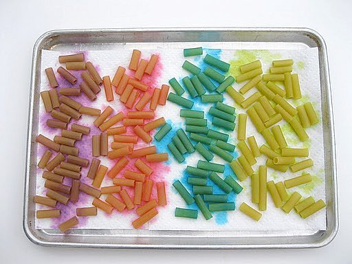 Dyed Macaroni Drying