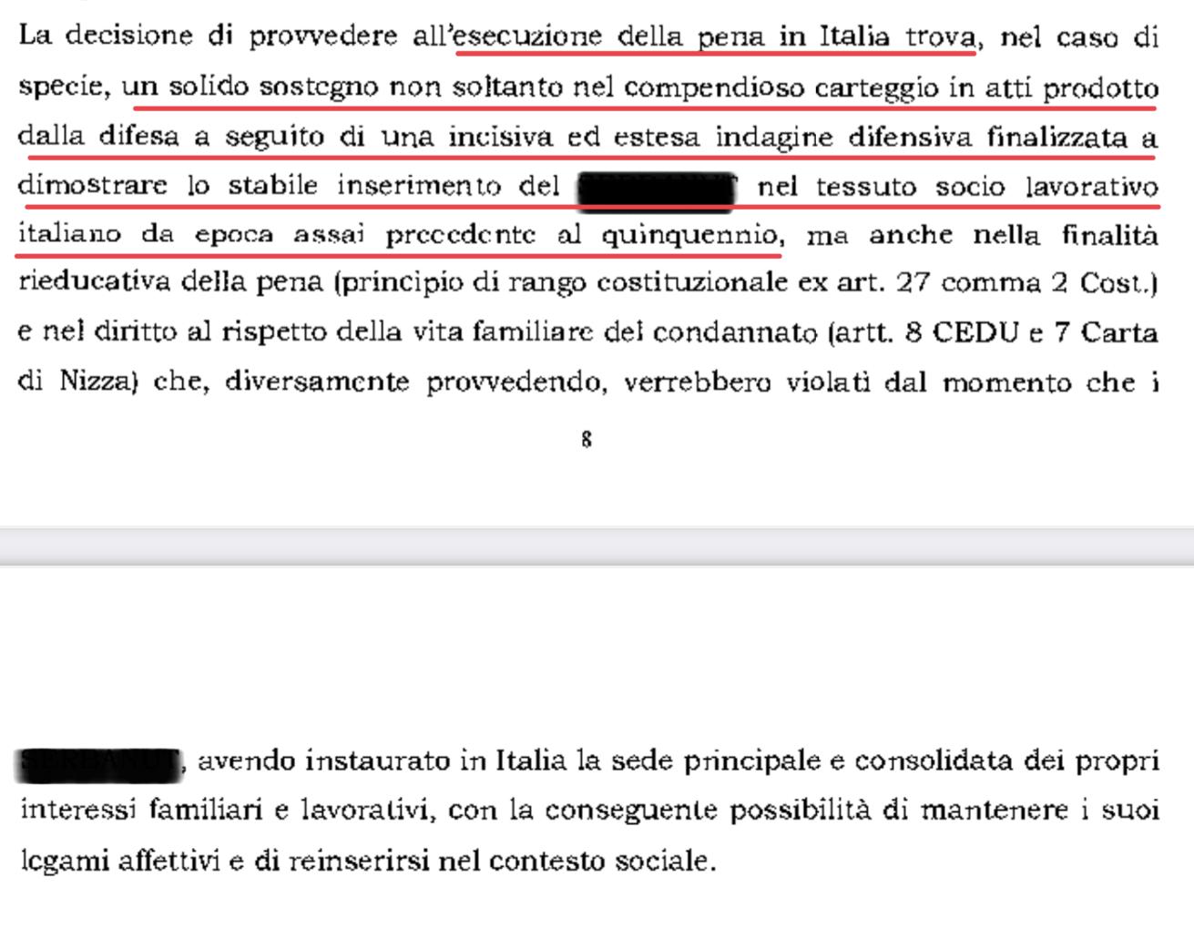 Decisione della Corte di Appello di Roma
