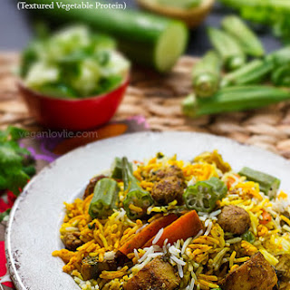 Mauritian Vegan Briyani with Okra and Soya Chunks (Textured Vegetable Protein)