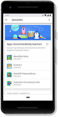 Mobile screen featuring teacher recommended apps