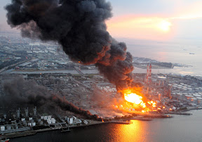 An oil refinery in Chiba City caught fire after an 8.9 earthquake struck off the coast of northern Japan on March 11.