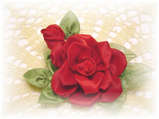 ~ Handmade Heirloom Ribbon Roses ~