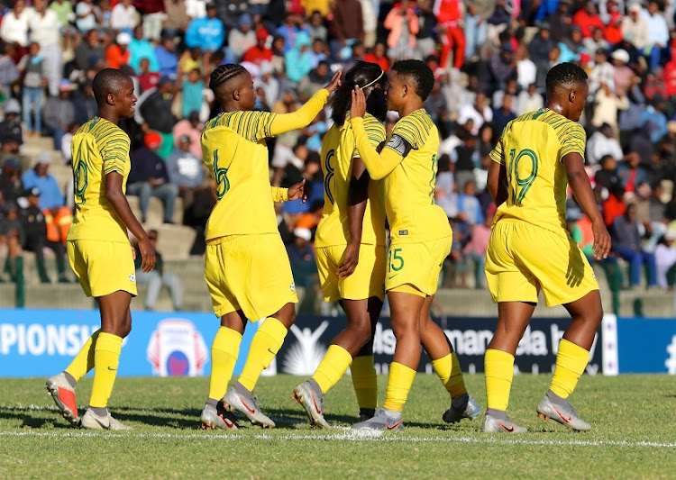 South Africa celebrates Ode Fulutudilu's goal during the COSAFA Women's Championship match between South Africa and Comoros at Wolfson Stadium on July 31, 2019 in Port Elizabeth, South Africa.