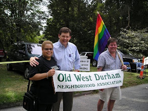 Photo: With Durham City Councilman Mike Woodard and local activist and ally John Schelp.