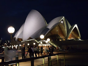 The Sydney Opera House at night.